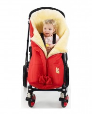 Double-O Cozy Red Fareskind Baby Bunting Bag in a stroller with child