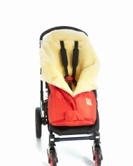 Double-O Cozy Red Fareskind Baby Bunting Bag in a stroller